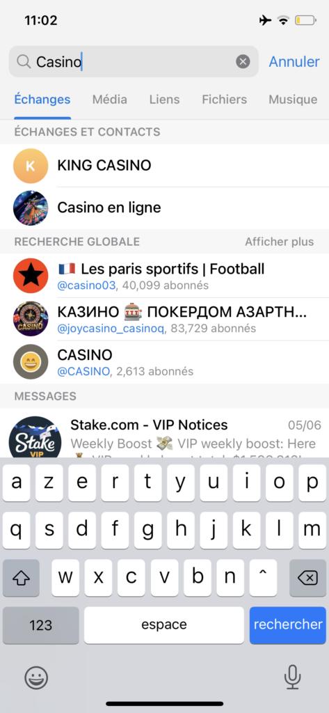 trouver un groupe telegram smartphone